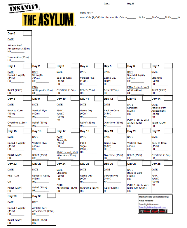 Ultimate Asylum Worksheets | Team Right Now Fitness (Beachbody ...