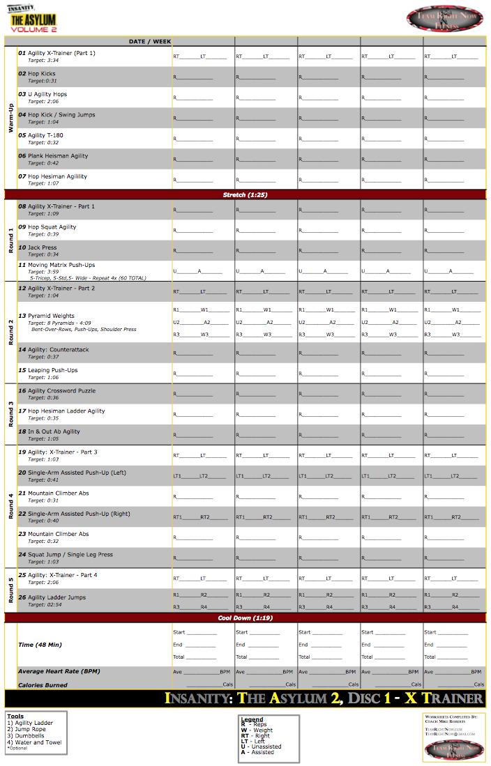 Ultimate Insanity Asylum Volume 2 Worksheets – Fitness Worksheets
